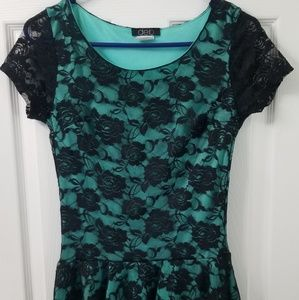 Black Rose Lace Overlay Women's Blouse Teal Green
